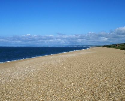 South from Abbotsbury where land meets the sea at Dorset's Chesil Bank