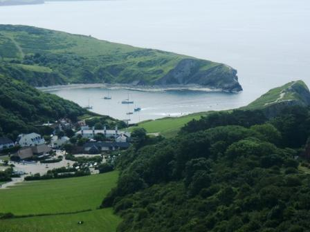 Lulworth  Cove some miles along the coast from Abbotsbury